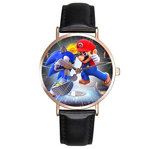 MIAOGOU Dibujos animados Super Mario Relojes Mario Super Sonic Relojes de los niños Premium Correa de cuero Relojes de pulsera de cuarzo para niños dibujos animados Sonic el erizo