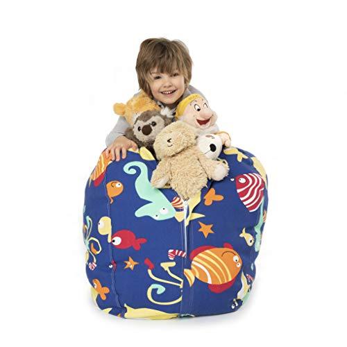 BANBALOO-Bolsa Puff para guardar juguetes de peluche-Saco almacenamiento para cojines y mantas convertible en sillón para niños-Organizador infantil lona algodón-Regalo original educativo.