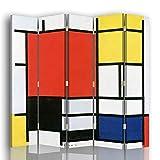 Legendarte - Biombo Composición con Plano Rojo Grande, Amarillo, Negro, Gris y Azul - Piet Mondrian - Separador de Ambientes Copia cm. 180x180 (5 Paneles) - Decoración Pared