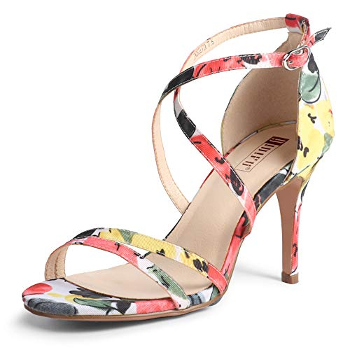 IDIFU Women's Silvia Cross Strappy Sandals Heels 3 Inch Open Toe Ankle Strap Wedding Party Dress Heeled Shoes (Floral Yellow, 8 MUS)