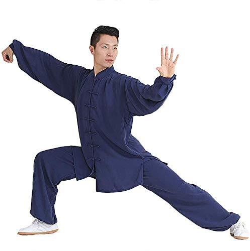Tai Chi Anzug Damen Herren Locker Bequem Atmungsaktiv Tai Chi Kleidung Kampfsport Kleidung Kung FU Yoga Kleidung,Black-Large,Blau,L