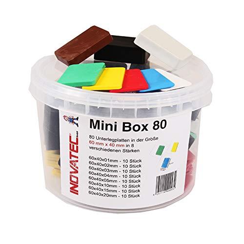 80 x Inovatec Kunststoff Unterlegplatten 60 x 40 x 1-20 mm Ausgleichsplatten Abstandshalter Niveauausgleich | Lieferung in praktischer Box mit Deckel