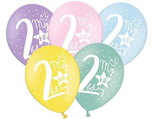 Libetui 10 Starke farbige Luftballons 2 Jahre 30cm Deko zum 2. Geburtstag Party Kindergeburtstag 2 Jahre Dekoration Aufdruck 'My 2nd Birthday'' Ballon Nummer 2