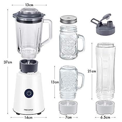Freihafen-Mixer-1000ML-Tragbar-Entsafter-Mini-Standmixer-BPA-Frei-3-in-1-Multifunktion-Smoothiemaker-mit-2xMason-glas1x600ml-Sportflasch2xStrohhalme