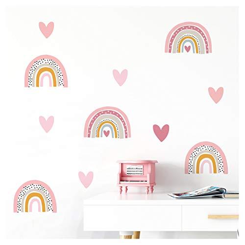 Little Deco Wandtattoo viele Regenbogen mit Herzchen I 200 x 104 cm (BxH) I Wandaufkleber Sticker Mädchen Wandsticker Herz Kinderzimmer Deko Aufkleber Baby DL486