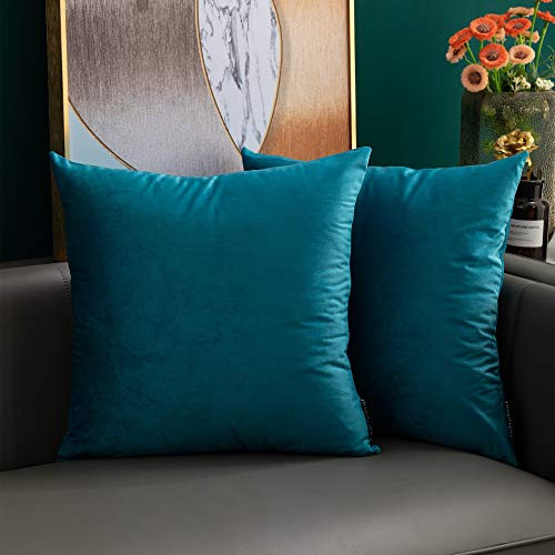 softpoint Velvet Cushion Covers Teal 45cm x 45cm Soft Decorative Throw Pillowcases 18 x 18inch for Couch, Bed, Sofa, Pack of 2(teal,18x18)…