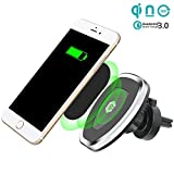 Cegon Magnetic Wireless Car Charger W5,QI Car Charging Mount, Air Vent Phone Holder, Wireless Charging for Phone Xs/XS Max/XR/X/8/8 Plus, Samsung Galaxy S10/S10 Plus/S9/S9 and All QI-Enabled Devices