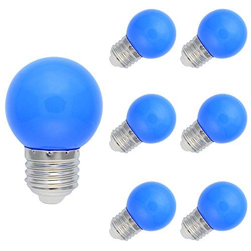 6er Set E27 Farbig LED Leuchtmittel Birnenform Bunt Tropfenlampe Glühbirnen Biergartenlichterkette Partybeleuchtung Blue