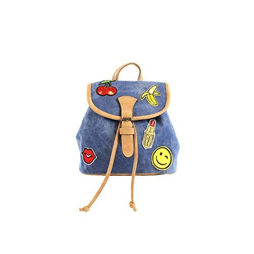 For Time lona vaquera, Mochila mujer casual Emoji con solapa pequeña, Multicolor, 19x24x12 cm
