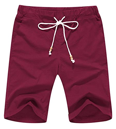 Janmid Men's Linen Casual Classic Fit Short (M, Wine Red)