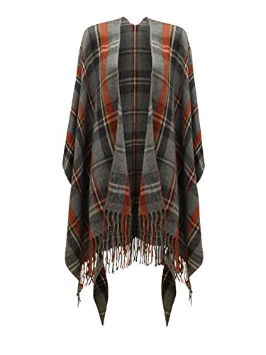 Poncho para mujer Samanthajane, tipo capa, o chal, de cuadros escoces