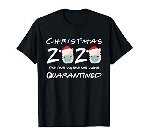 Christmas 2020 Llama Wearing Face Mask Pajama Quarantined T-Shirt