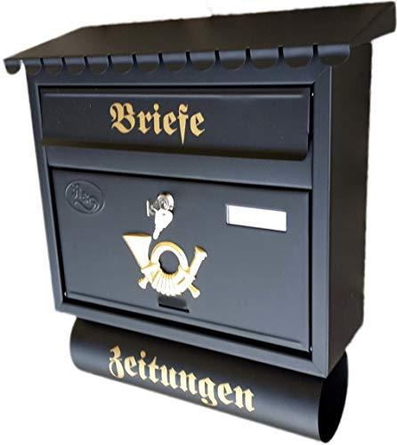 Naturholz-Schreinermeister Großer Briefkasten/Postkasten XXL Schwarz matt mit Zeitungsrolle Flachdach Katalogeinwurf Zeitungsfach
