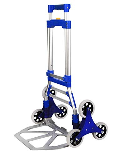 HAOSHUAI Carros de compras Shopping-GR Estructura de aleación de aluminio para pesar 70 kg. Carro portátil (Color: Azul) Bolsas de compras plegables