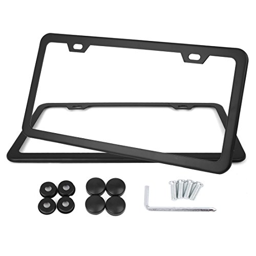 X AUTOHAUX 2 Pcs Stainless Steel Car 2 Hole License Plate Frame Cover w/Screw Caps - Black