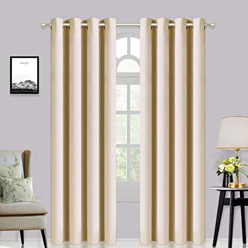 Asrisuk Blackout Curtains 2 Panels Set Thermal Insulated Window Treatment Eyelet Super Soft Darkening Curtain for Livingroom Bedroom Nursery Beige W66 x L90 Inch