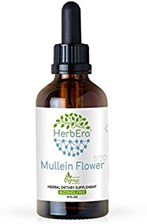 Mullein Flower B120 Alcohol-Free Herbal Extract Tincture, Super-Concentrated Organic Mullein (Verbascum Densiflorum) Dried...