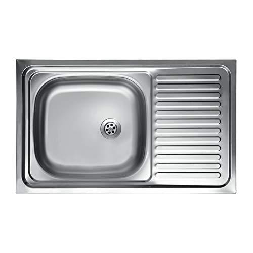 we point Lavello Cucina Vasca con Gocciolatoio DX in Acciaio da Appoggio 50x80 Cm