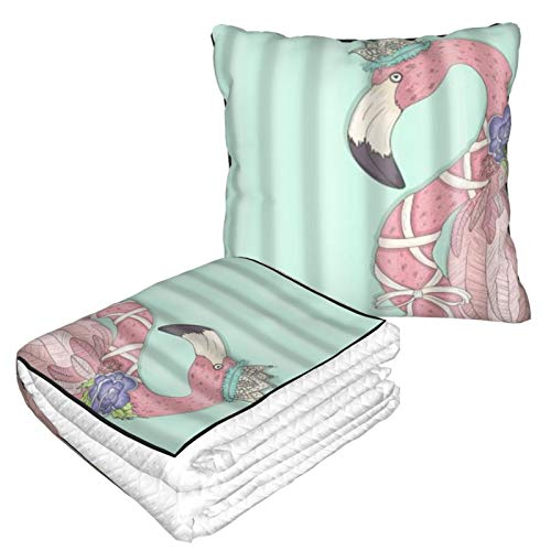 XINGAKA Travel and Throw Blanke,Cute Flamingo With Flower And Crown On Teal Backdrop Art,Throw Pillow and Folding Air Conditioning Car Blanket Cushion