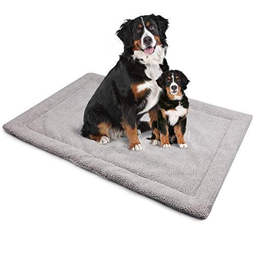 ALLISANDRO Hundematte waschbare Hundedecke hygienische rutschfeste und weiche Decke 80x60cm 100x70cm 120x70cm mit kuscheligem Micro Plüsch Oberfläche Leinwand Zurück Duplex-Einsatz Grau