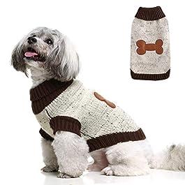 BINGPET Turtleneck Dog Sweater Brown