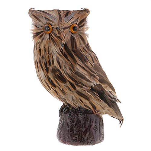 Perfeclan Simulation Animal Cute Owl Figure Statue Lawn Garden Sculpture Funny Kid Toys Feng Shui Decoration Crafts - Brown