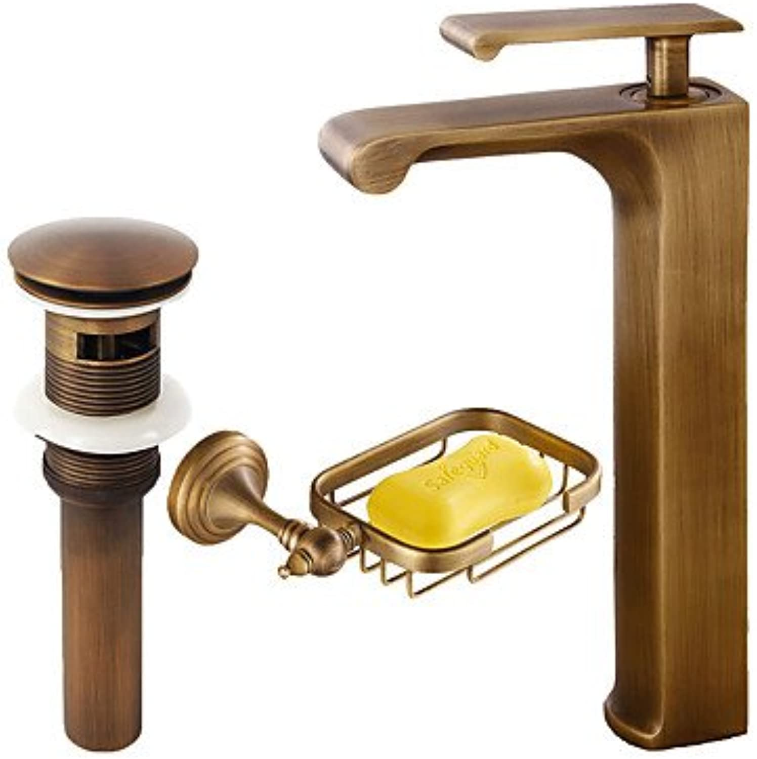 ZYT Centerset Waterfall Ceramic Valve Single Handle One Hole Antique Copper , Bathroom Sink Faucet
