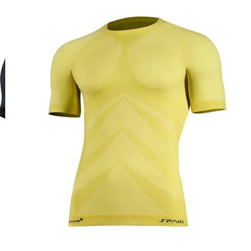 SPAIO Relieve Line–Muy Ligero körpernahes Hombre Función Camiseta, Verano, Hombre, Color Amarillo,...