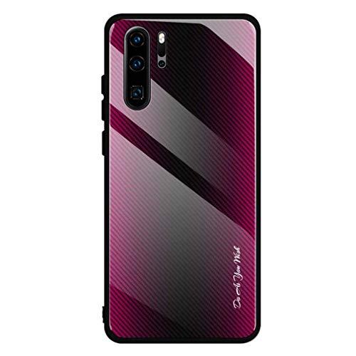 Case kompatibel für Huawei P30 Lite hülle Ultraslim Handyhülle Glashülle Hybrid Gradient 9H Gehärtetes Glass Schutzhülle Slim fit Anti-Fingerprint Spiegel Bumper Cover für Huawei P30 Lite (Rose rot)