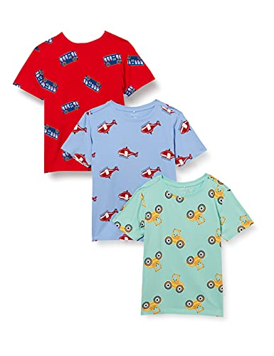 NAME IT Jungen NMMBENDRIAN SS TOP 3P T-Shirt, High Risk Red, 110