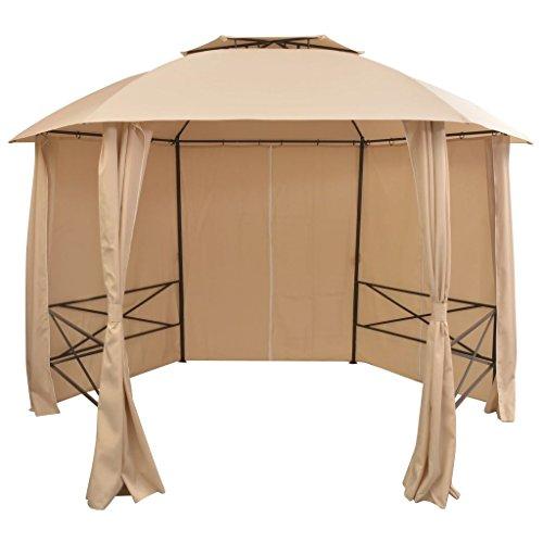 XINGLIEU gazebo Canopy Garden Pavilion tenda tendone con tende 360x 265cm esagonali pergola baldacchino materiale: struttura in acciaio verniciato a polvere, tessuto impermeabile