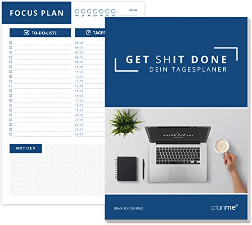PlanMe Tagesplaner A5 Block mit 50 Blatt, Daily planner mit To do Liste für die Schulsachen. Auch als Produktivitätsplaner für dein Business, der Universität oder Schule