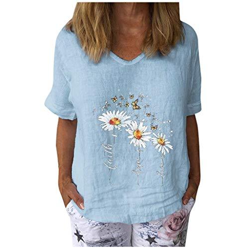 Frauen Tops Casual Blumendruck T-Shirt Schmetterling Muster Tunika Baumwolle und Leinen Pullover V-Ausschnitt Kurzarm Bluse(XL,Hellblau)