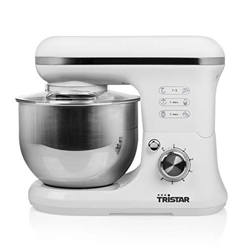 Tristar MX-4817 multifunktionale Küchenmaschine mit 5L Edelstahlschüssel, 1200 Watt, weiß, edelstahl