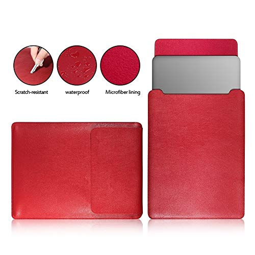WYHP Portable leder afgewerkt Waterproof Notebook Computer Notebook Wallpaper Pack Advanced Handmade tablet-computer Bescherming Liner Bag (Color : For Red, Size : 15.6-inch)