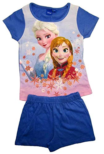 Frozen - Die Eiskönigin Mädchen Kurzarm Pyjama Kinder Schlafanzug Kurze Hose Shorty 128