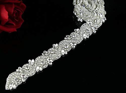 Shinybeauty decoración de diamante artificial estilo Floral, para faja de novia, diseño de boda, diseño de perlas, 91.44 cm, RA245, Silver Ribbon, Width is 4cm, Length is one yard