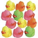 Kicko Mini Colorful Rubber Duckies - 12 Pack - Assorted Colors Cool and Cute Rubber Ducks - for Kids Party Favors, Bag Stuffers, Fun, Toy, Prize - 1.25 Inches