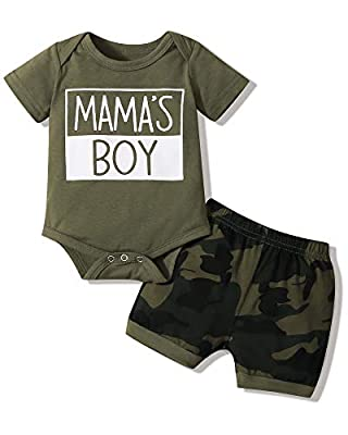 Newborn Baby Boy Summer Clothes Outfits Romper Bodysuit Onesies Tops+Shorts Pants Infant Baby Boy's Clothing Green by