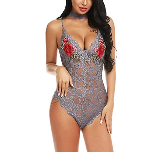 Alwayswin Sexy Frauen Bodysuit Damen Spitzen Reizwäsche V-Ausschnitt Teddy Dessous Overall Babydoll Stickerei mit Kragen One Piece Unterwäsche Dessous Set Lingerie Nachtwäsche