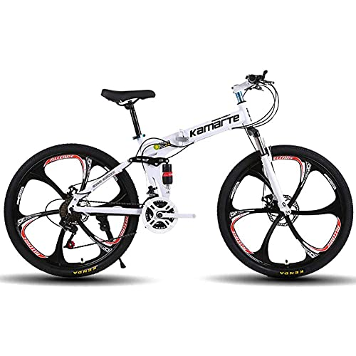 DengDD 24/26 Inch Folding Mountain Bike,Front And Rear Variable Speed Shock Absorber Bicycle,Double Disc Brake,21/24/27 Speed Sports MTB for Adult Student,White,26inch