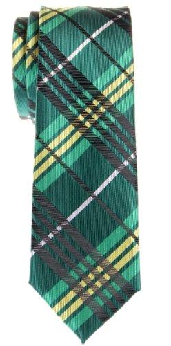 Retreez Corbata de microfibra fina con estampado a cuadros moderna para hombres Verde
