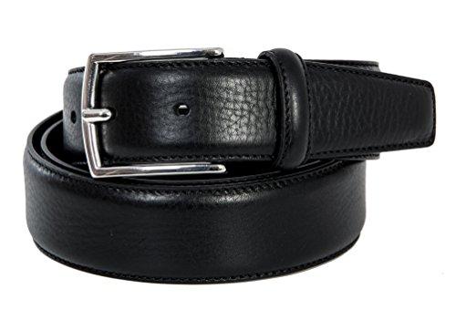 Giorgio Vandelli Cintura Uomo Nera in vera pelle Made in Italy 35mm (100cm Girovita – 115cm Lunghezza totale)