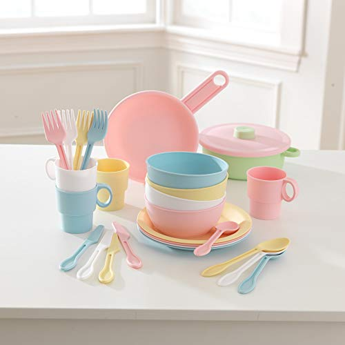 KidKraft 63027 27-teiliges Küchen-Spielset Spielzeug-Geschirrset, Pastellfarben - 3