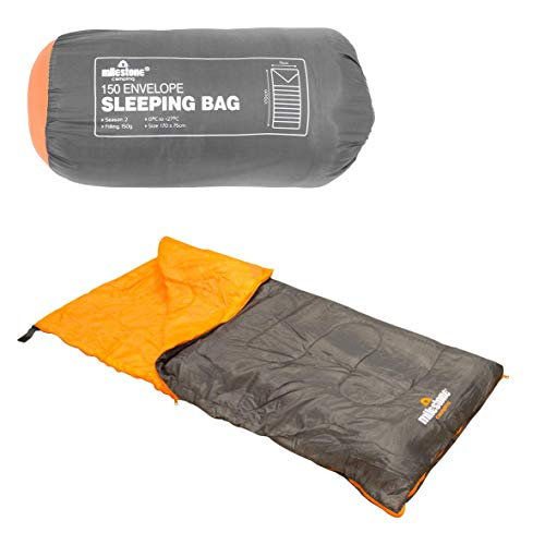 Milestone Camping Insulation 26700 Single Envelope Sleeping Bag | 2 Season | Full Length Dual Zip | Grey & Orange | Packs Down Tight | 170cm x 75cm