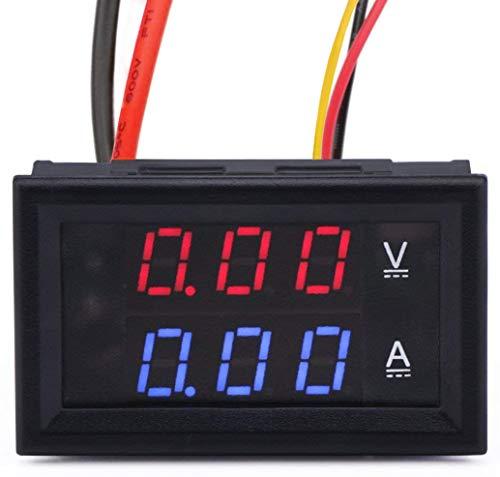 MCIGICM 0.28 LED Voltmeter Ammeter, Red and Blue Digital Multimeter Display Voltage Current Tester,DC 0-100V 10A Detector Voltage Current Meter Panel Amp Volt Gauge