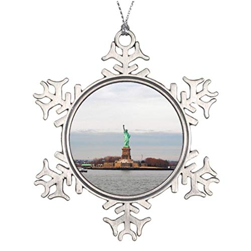 Christmas Ornaments, Cool Statue Of Liberty Ny New York Pewter Ornament, Snowflake Ornament Tree Hanging Decor Gift,3 Inch