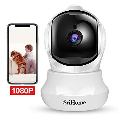 Camera IP, Srihome 1080P Cámara de Vigilancia FHD con Visión Nocturna,Cámara de Mascota,Detección de Movimiento, Audio de 2 Vías, 2.4GHz WiFi, Compatible con iOS/Android