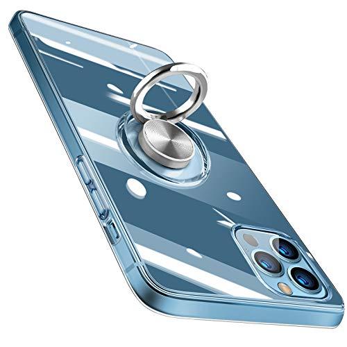 Bafeibili - Carcasa para iPhone 12 Pro - Carcasa transparente de silicona TPU con anillo giratorio de 360 ° - Anillo giratorio para soporte magnético de coche, antigolpes y antiarañazos