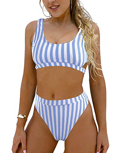 Blooming Jelly Women's High Waisted Swimsuit Crop Top Cut Out Two Piece Cheeky High Rise Bathing Suit Bikini (Medium, Blue)